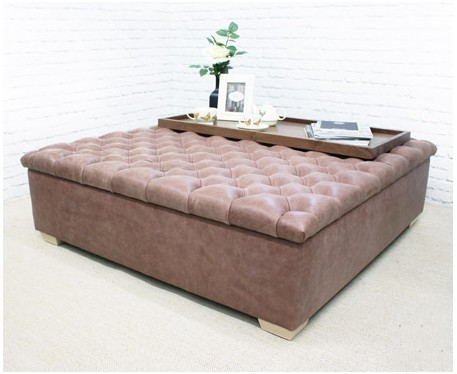 Large Deep Buttoned Square Footstool