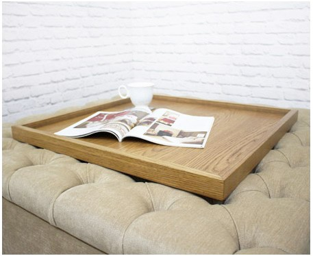 Square Wooden Tray Light Oak Footstools Amp More