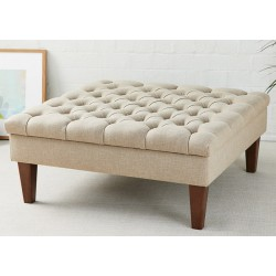 Finsbury One : Deep Buttoned Square Footstool