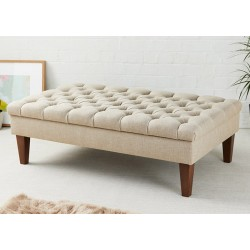 Deep Buttoned Rectangular Table Stool