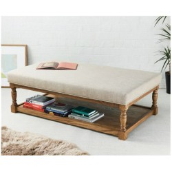 Hamilton Plain : Rectangular Oak Framed Coffee Table Stool