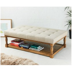 Hamilton Shallow Buttoned : Rectangular Oak Framed Coffee Table Stool