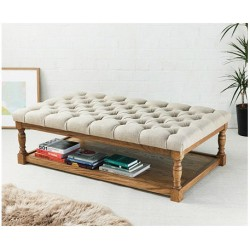 Hamilton Deep Buttoned : Rectangular Oak Framed Coffee Table Stool