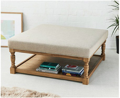 Burlington Plain : Square Oak Framed Coffee Table Stool