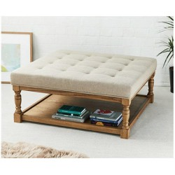 Burlington Shallow Buttoned : Square Oak Framed Coffee Table Stool
