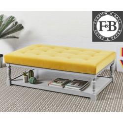 Hamilton Shallow Buttoned : Rectangular Oak Framed Coffee Table Stool