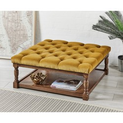 Burlington Deep Buttoned : Square Oak Framed Coffee Table Stool