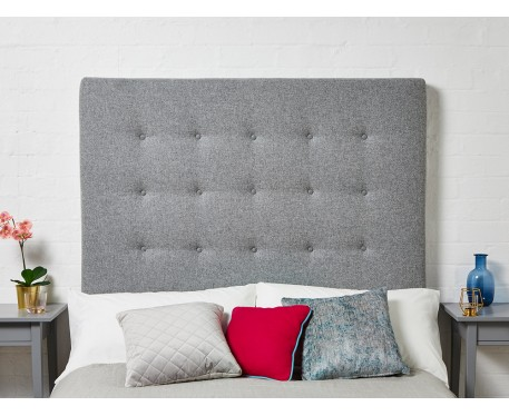 Preston Double Tall : Tall Shallow Buttoned Headboard