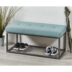 Frankfurt Storage Bench : Metal Bench with shelf