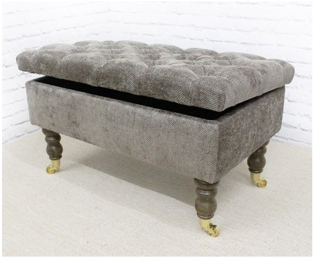Deep Buttoned Storage Bench