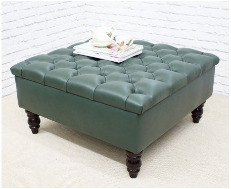 Deep Buttoned Square Footstool